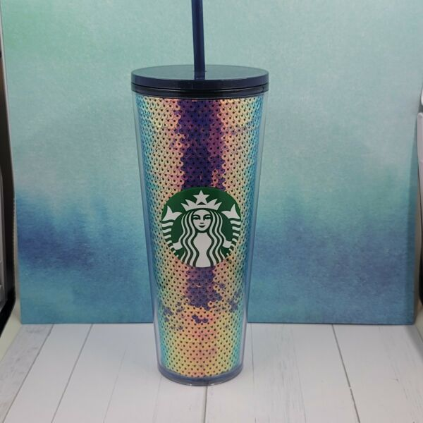Starbucks Dark Sequin Holiday 2020 Cold Tumbler Color Changing IN HAND