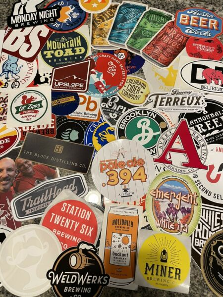 Assorted Brewery Beer Stickers No Duplicates LOT of 10 Read Description Please