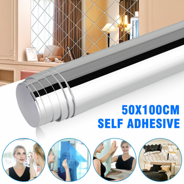 Mirror Reflective Kitchen Wall Stickers Self Adhesive Tile Film Paper Home Decor $22.48
