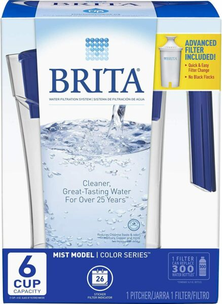 Brita Mist Model 6 Cup BPA Free Water Pitcher Color Series Advanced Filter New