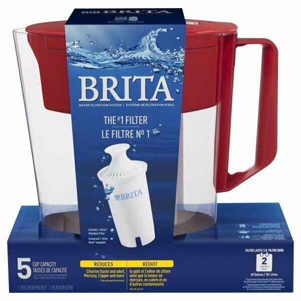 Brita Soho 5 Cup Water Filter Pitcher 1Red Pitcher 1Filter New Factory Sealed