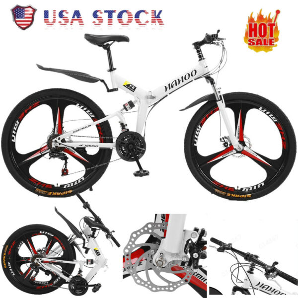 26 quot; Men Mountain Bike Folding Full Suspension 21 Speed Dual Disc Brakes Bicycle $212.99