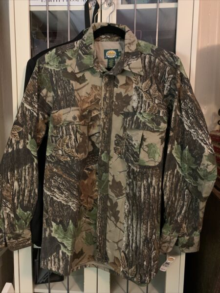 Cabelas SHIRT 100% Cotton Flannel Hunting mossy Camo sz L Reg
