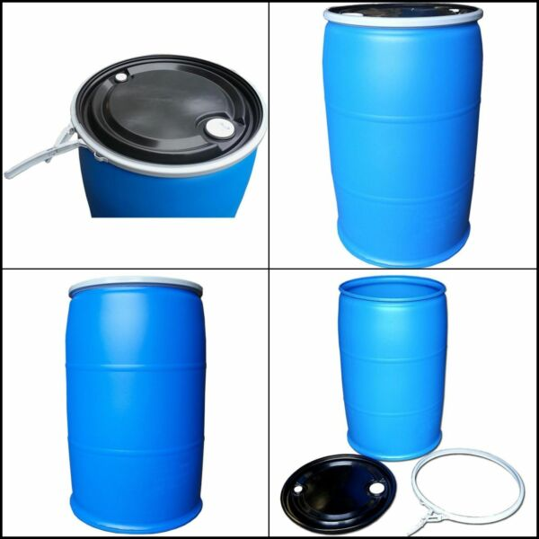 55 gal. open top plastic industrial drum with lid and lock band off color $150.00