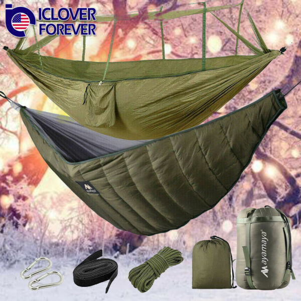Camping Hammock With Mosquito Net Hanging Bed Ultralight Under Quilt Blanket $69.99
