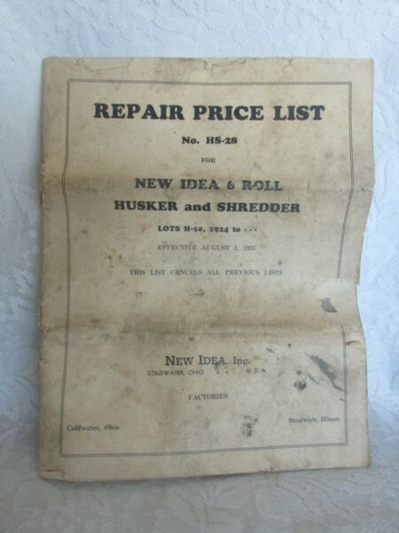 Old Parts Price List New Idea 6 Roll Husker and Shredder