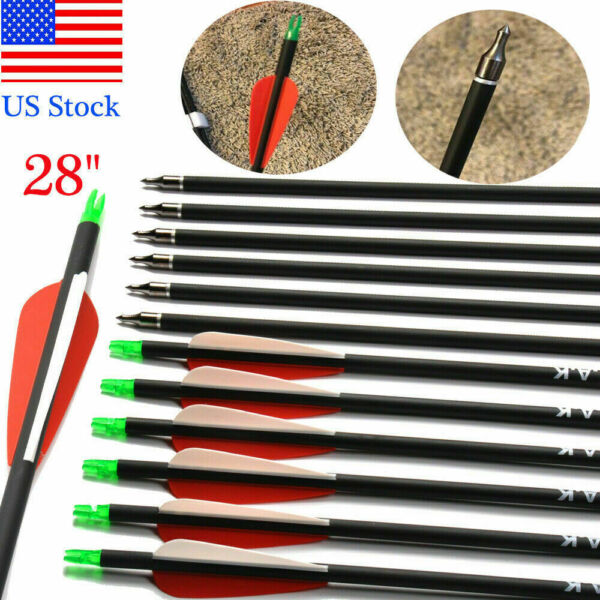 Carbon Arrow 28 Inch Spine500 OD7.8 mm for Compound Recurve Bow Archery Shooting $26.96