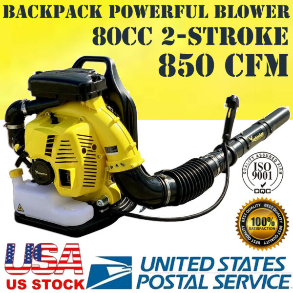 Pro 80cc 2 Cycle Gas 850 CFM 230 MPH Backpack Leaf Blower Grass Yard Cleaning