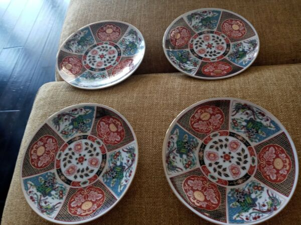 Imari Ware Japan Porcelain 6 1 4 Set of 4 Brilliant Floral Pattern From Estate