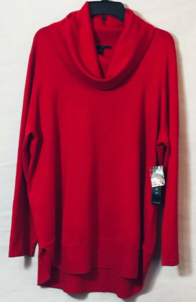 NWT Cyrus Women#x27;s Plus Sweater Tunic Cowl Neck Long Sleeve Red Size 2X $34.50