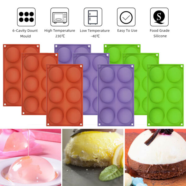 2PCS 6 Hole Semi Sphere Round Silicone Mold Hot Chocolate Cupcake Baking Molds