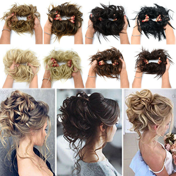 THICK X LARGE Messy Bun Hair Piece Scrunchie Updo Wrap as Human Hair Extensions