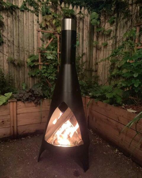 Steel Chiminea Retro Patio Fire Pit Heater Wood Burning Backyard Fireplace Cover