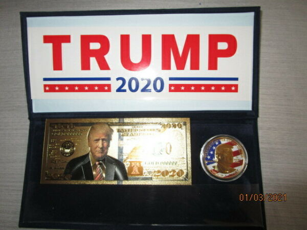 DONALD TRUMP 2020 COMMEMORATIVE SET Red White amp; Blue COIN Gold Plated BILL $9.99