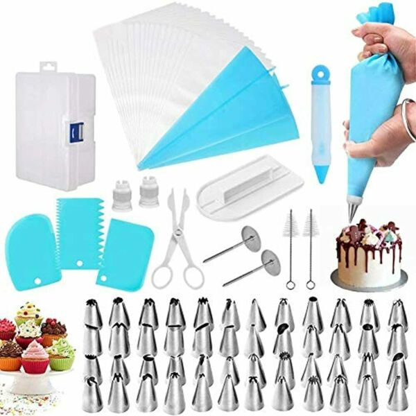 82 Pieces Cake Decorating Kit Supplies With Icing Piping Tips Disposable Bags $22.55