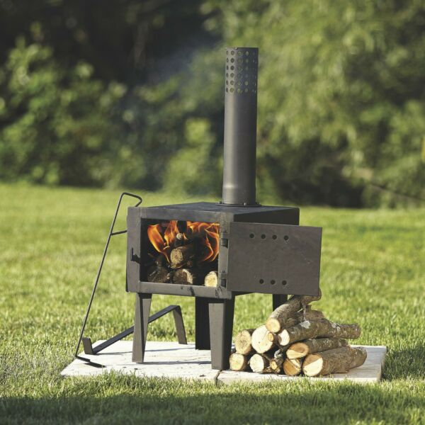 Portable Wood Stove Cast Iron Camping w Pipe For Vented Cooking Galvanized Steel $149.89