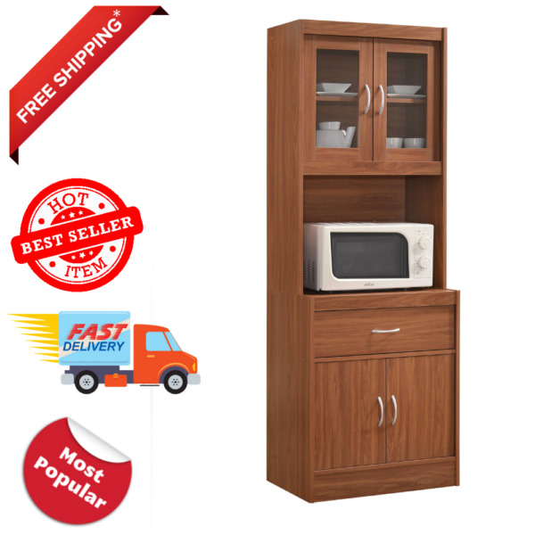 Tall Storage Cabinet Kitchen Pantry Cupboard Organizer Furniture Wood Cherry