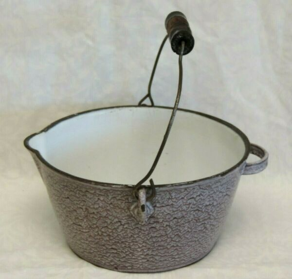 VINTAGE CAST IRON BROWN SPATTER SPECKLE ENAMELWARE KETTLE POT #2 1 2 HANDLE