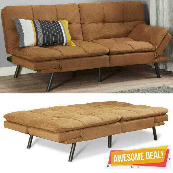 Memory Foam Futon Sofa Bed Couch Sleeper Convertible Foldable Loveseat FULL Size $185.99