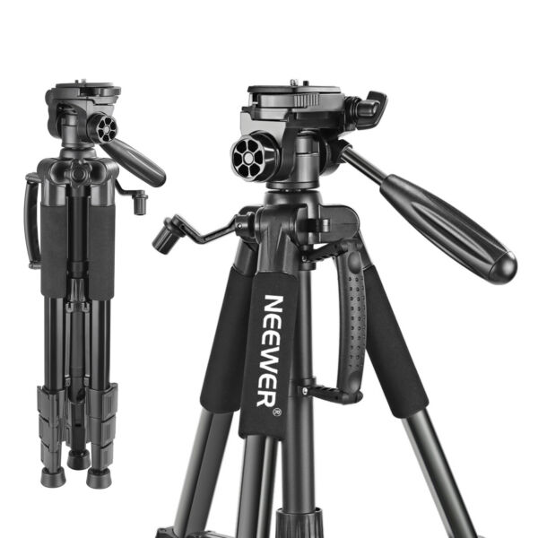 Neewer Portable 56quot; Aluminum Camera Tripod with 3 Way Swivel Pan Head With Bag