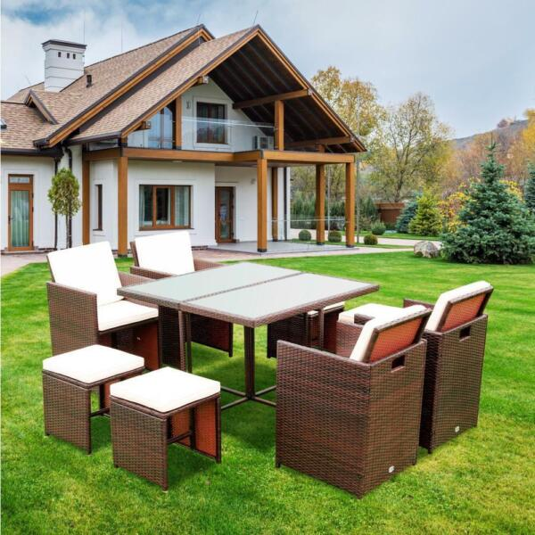 9PCS Outdoor Patio Sofa Set PE Rattan Wicker Sectional Furniture Outside Couch $455.99