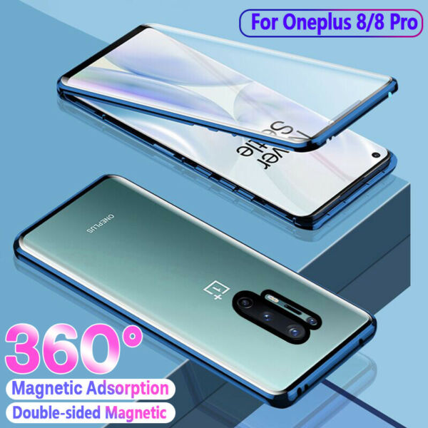 360° Magnetic Adsorption Case For OnePlus 8 8 Pro Double side Glass Metal Cover