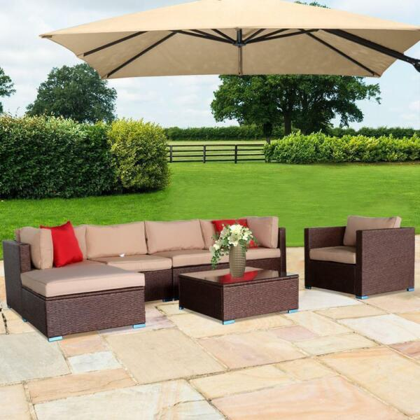 7PCS Outdoor Patio Sectional Furniture PE Wicker Rattan Sofa Set Garden Yard