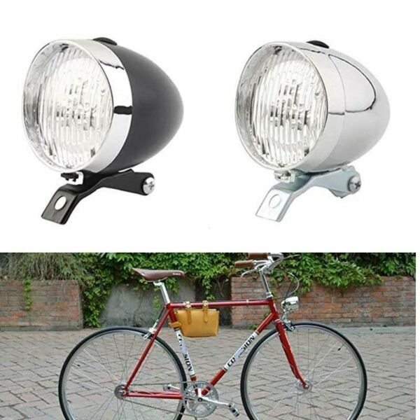 Retro Vintage Bike LED Front Light Headlight Warning Light Bicycle Accessories $12.78