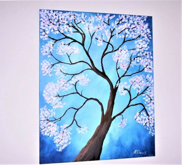 A.Davis Original Acrylic Painting Modern Abstract Floral Blossom Tree 24 x 30quot;