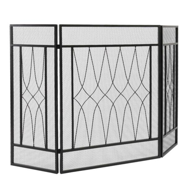 50quot; Iron Folding 3 Panel Fireplace Screen Spark Guard Protector Gate Black