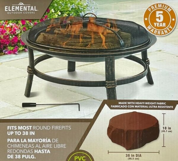 Elemental Outdoor Covers Premium Round Fire Pit Cover 38quot; x 18quot; NEW $19.99