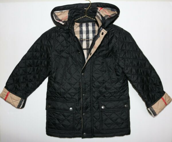 100% AUTHENTIC BURBERRY BOYS DIAMOND QUILTED BLACK JACKET COAT 7Y 7T NWT $275.00