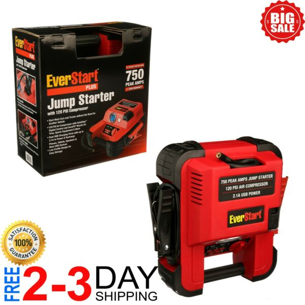 Auto Battery Jump Starter Air Compressor 750 Peak Amps Portable Car SUV Charger $45.99