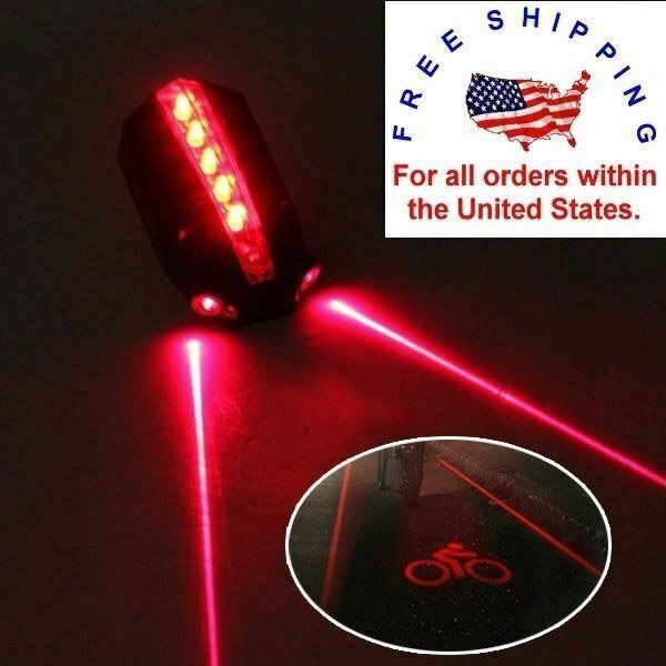 2 Laser 5 LED Rear Bike Bicycle Tail Light Beam Safety Warning Red Lamp NEW $9.95