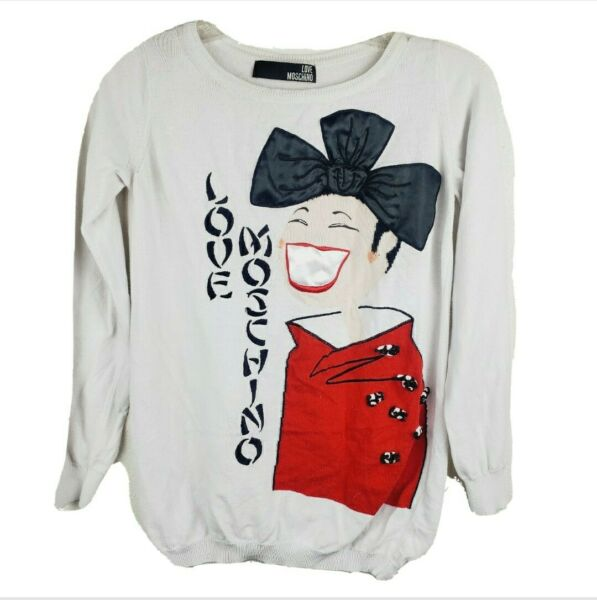 Love Moschino Black Bow Japanese Woman Graphic Sweater Women#x27;s Size 2 $39.99