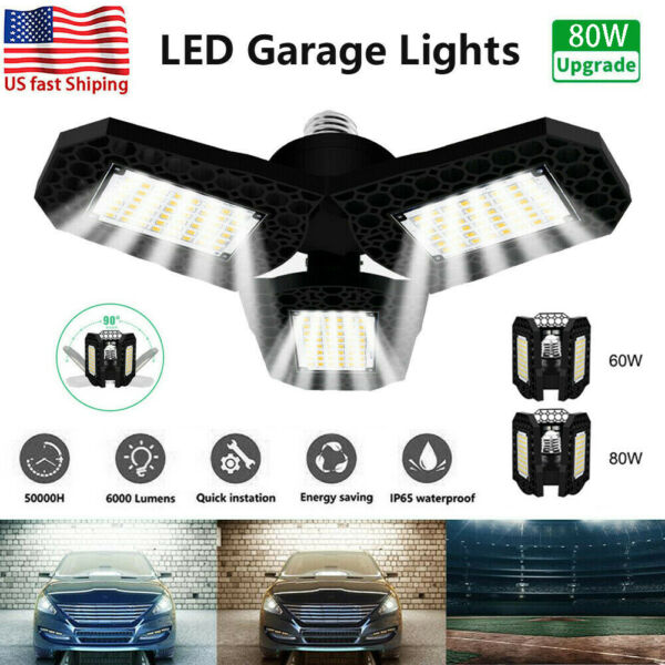 80W 8000LM Deformable LED Garage Light Super Bright Shop Ceiling Lights Bulb New $16.97