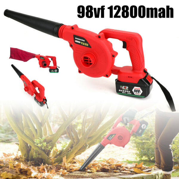 220V Electric Cordless Leaf Blower Lawn Yard Suction Sweeper Vacuums Red USA