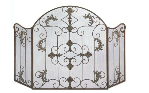 Smart Living Aw Florentine Wrought Iron Fireplace Screen Rustic amp; Ornate 3 Panel