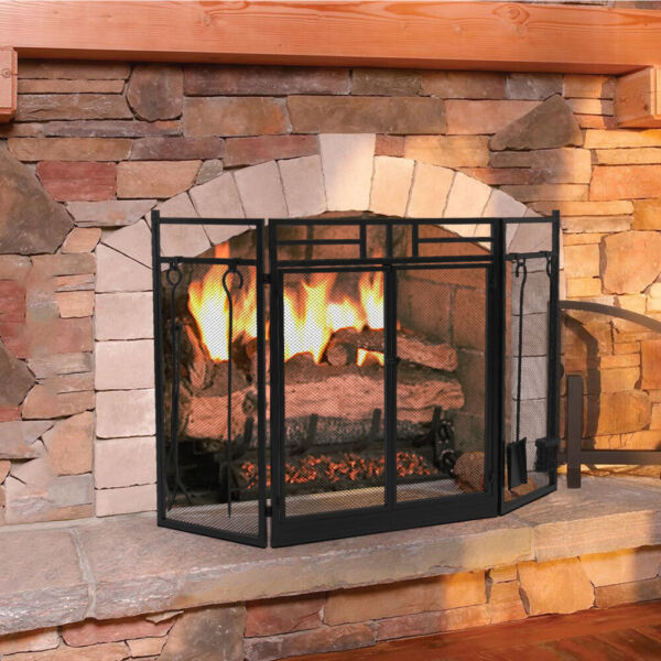 Wrought Iron Steel Fireplace Screen Double Doors Spark Guard Mesh with Tools
