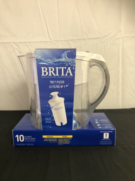 Brita Grand 10 Cup Water Pitcher BPA Free Filter Easy Pour Flip Lid Healthy New