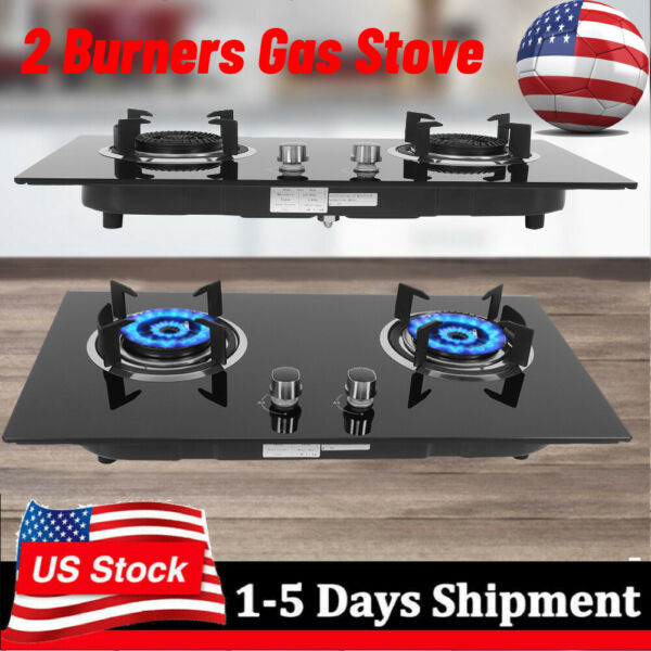 Portable 2 Burner Camping Gas Stove Tempered Glass 73cm Cooktop Indoor amp; Outdoor