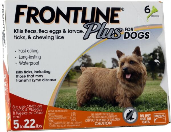 Frontline Plus Flea and Tick Control for Dogs 8 weeks or older upto 22lbs 6Doses $49.99