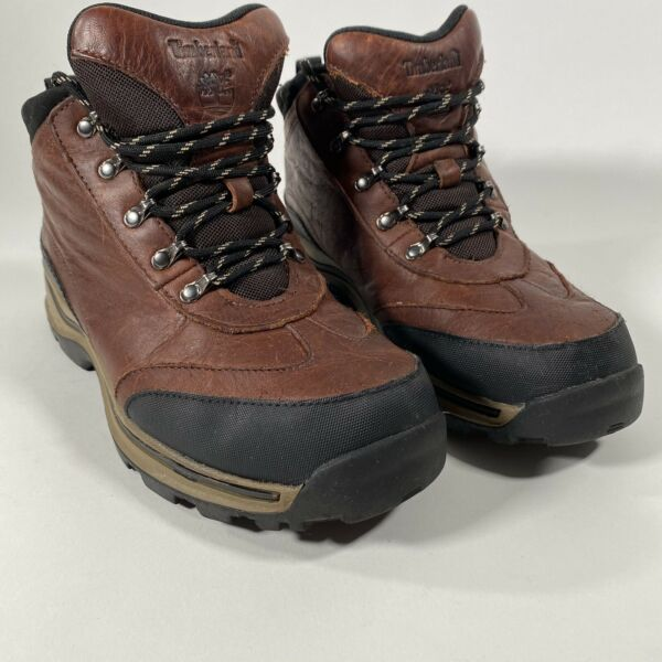 Timberland Boys Back Road Brown Leather Hiking Trail boots 22913 Youth Size 5.5 $29.97