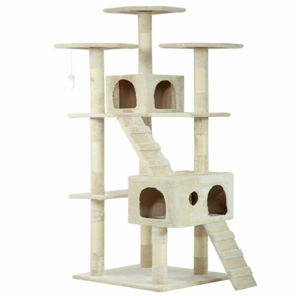 Pet House 73quot; Cat Tree Scratcher Play House Condo Furniture Bed Post