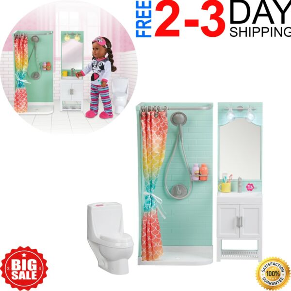 Bathroom Play Set Shower Vanity Dollhouse Furniture for 18quot; My Life As Dolls $47.99