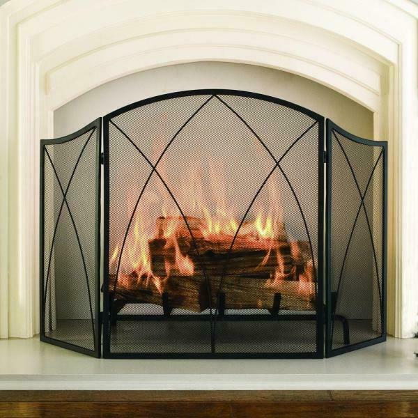 Arched 3 Panel Fireplace Screen Victorian Gothic Freestanding Steel Mesh Black