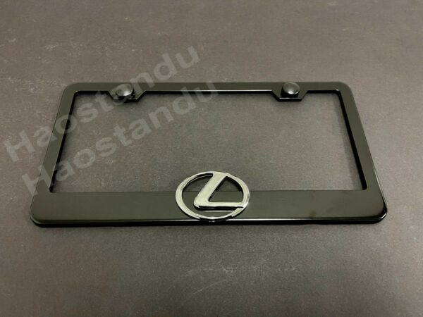 1xLexusLogo 3D Emblem Badge BLACK Stainless License Plate Frame RUST FREESCap L