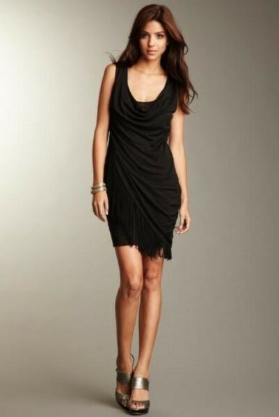 Elizabeth and James Fringed Bobbi Dress Small Nwot New Womens Black Mini Dresses