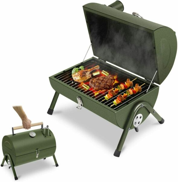 Portable Charcoal Grill Small BBQ Smoker Grill Tabletop Barbecue Charcoal Grill