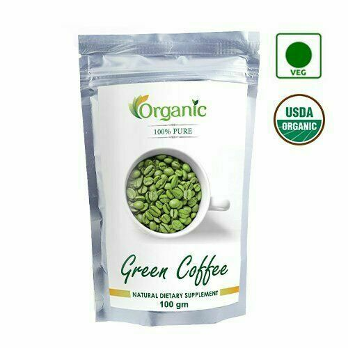 100% Pure Organic Green Coffee Beans 100 Gm Decaffeinated amp; Unroasted @US
